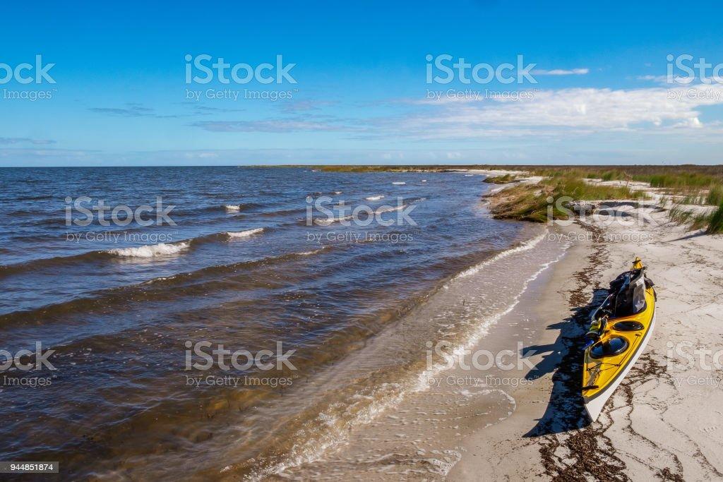 Kayak on Pamlico Sound stock photo