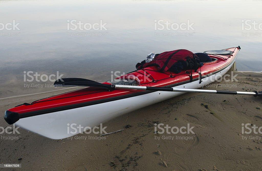 Kayak on Shore stock photo