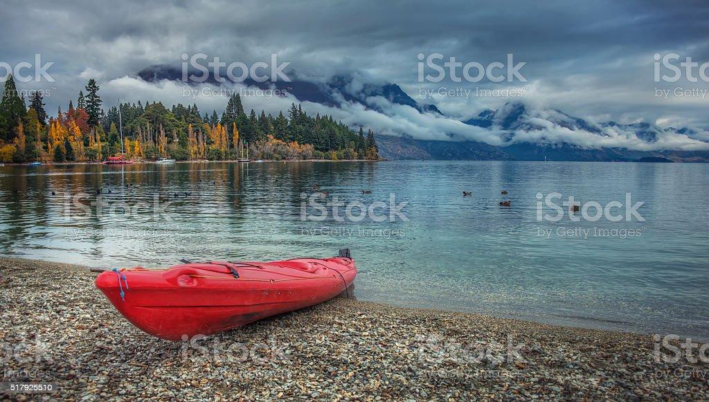Kayak On The Beach Of Lake Wakatipu stock photo