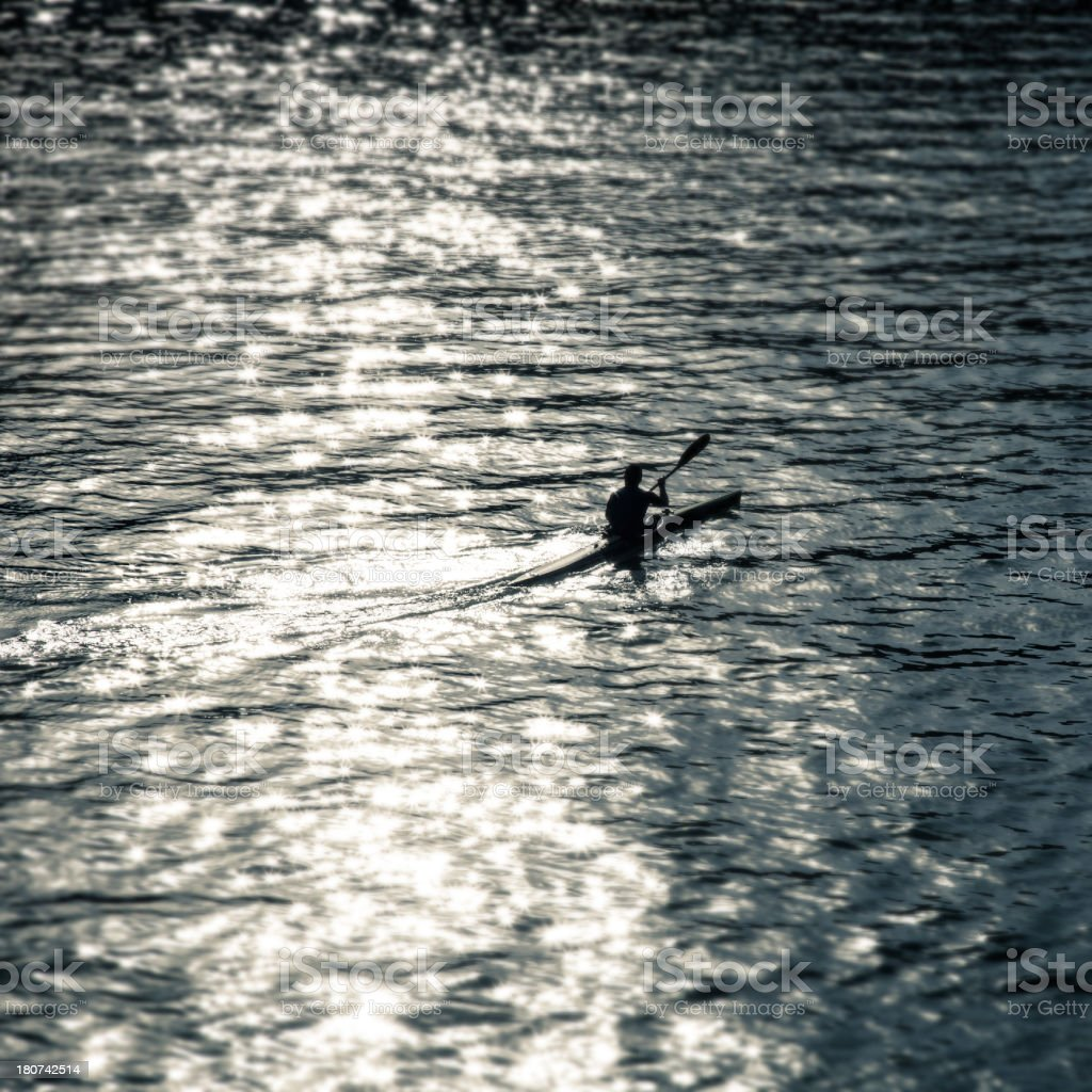 Kayak on the river royalty-free stock photo