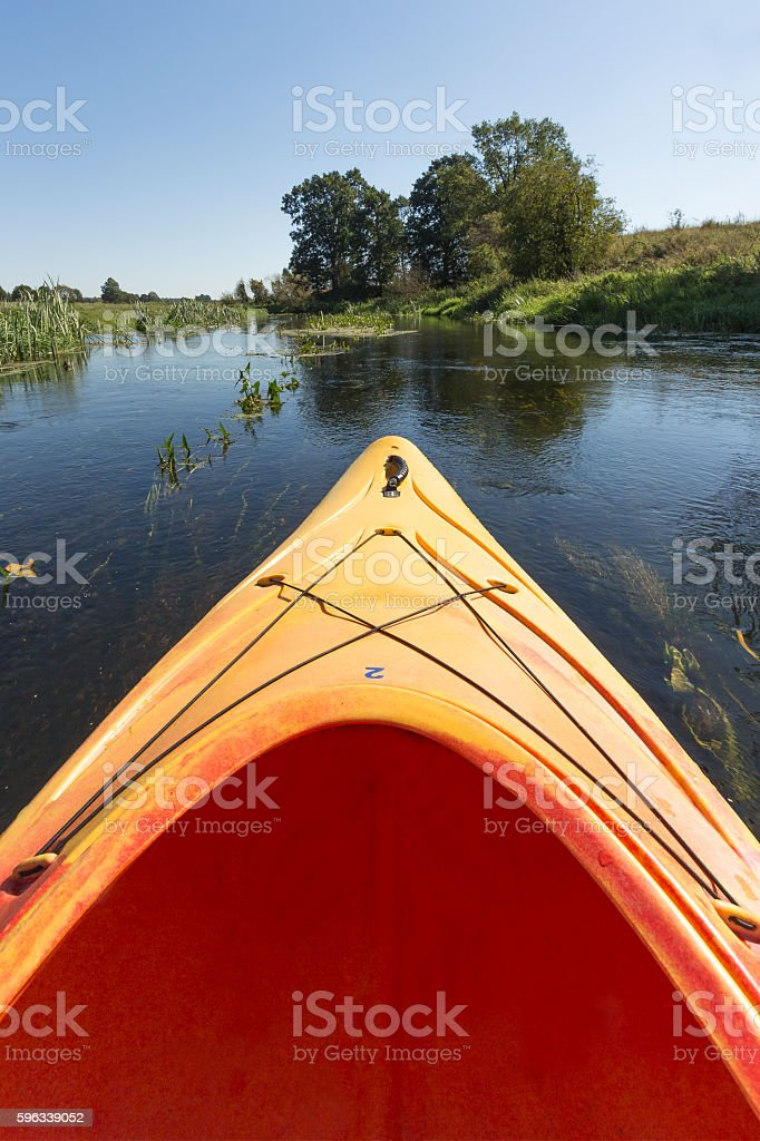 Kayak on the river Wkra, Poland royalty-free stock photo