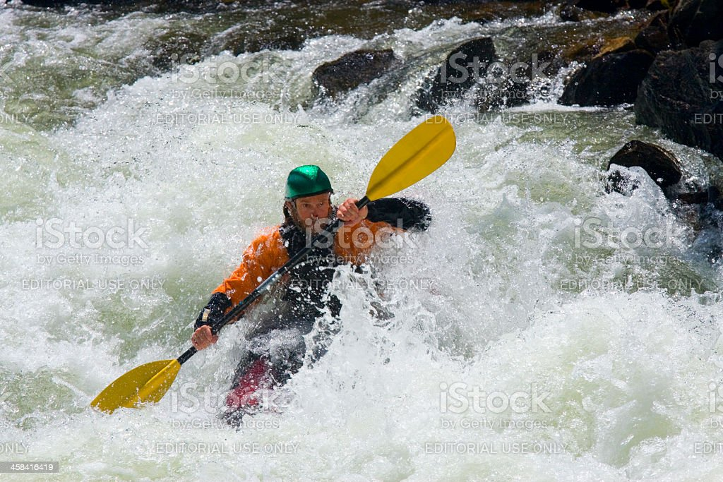 Kayak Riders in Clear Creek stock photo
