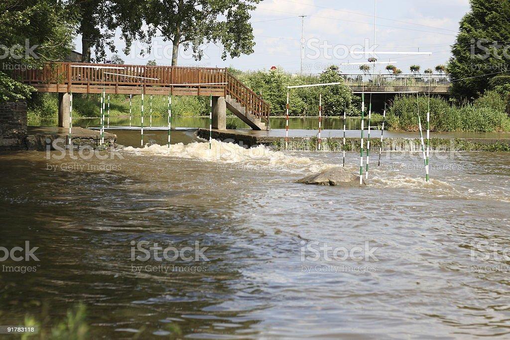 Kayak slalom doors in the river stock photo