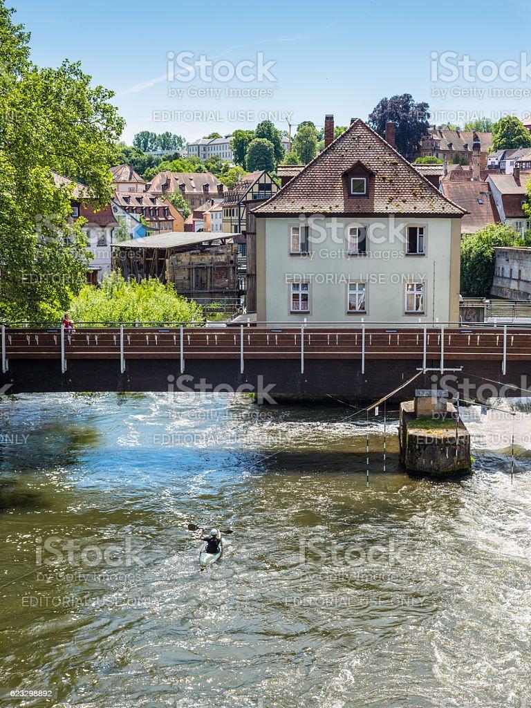 Kayak slalom on the River Regnitz, Bamberg, Bavaria, Germany, Eu stock photo