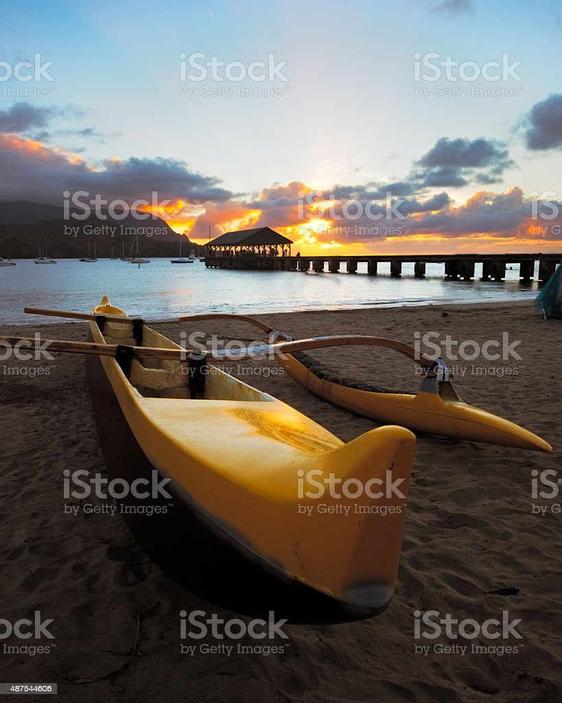 Kayak Sunset stock photo