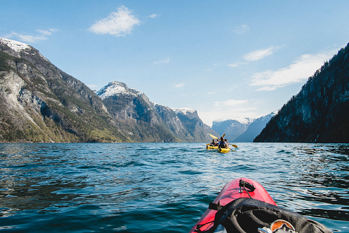 Kayak trip to the beautiful Nærøyfjorden, part of Norways longest fjord Sognefjorden. Sogn of Fjordane, Norway. April 2014