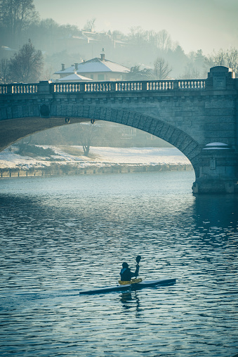 Kayak Under Po River and Bridge to Gran Madre Church in Turin Italy