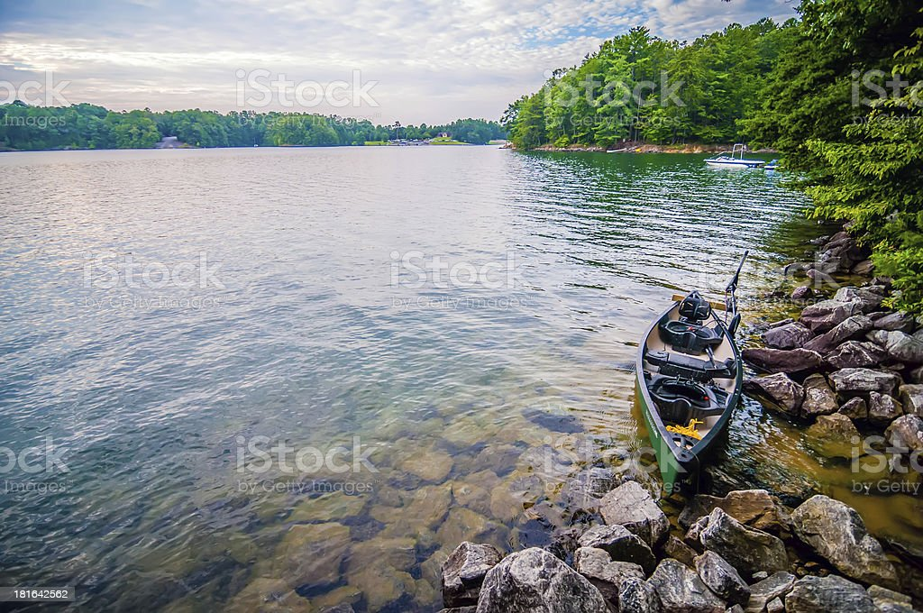 kayak with electric motor royalty-free stock photo