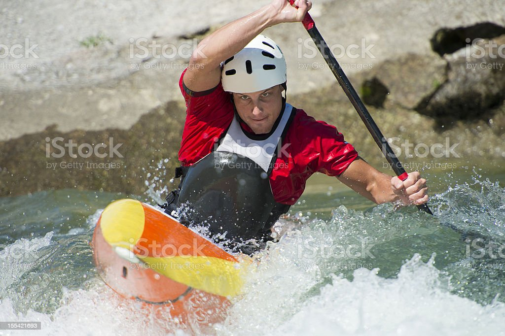 Kayaker against the stream royalty-free stock photo
