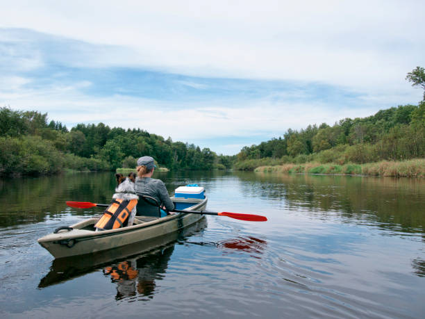 Kayaker and her dog float down the river A dog riding in the back of a kayak down the Namekagon River wisconsin stock pictures, royalty-free photos & images