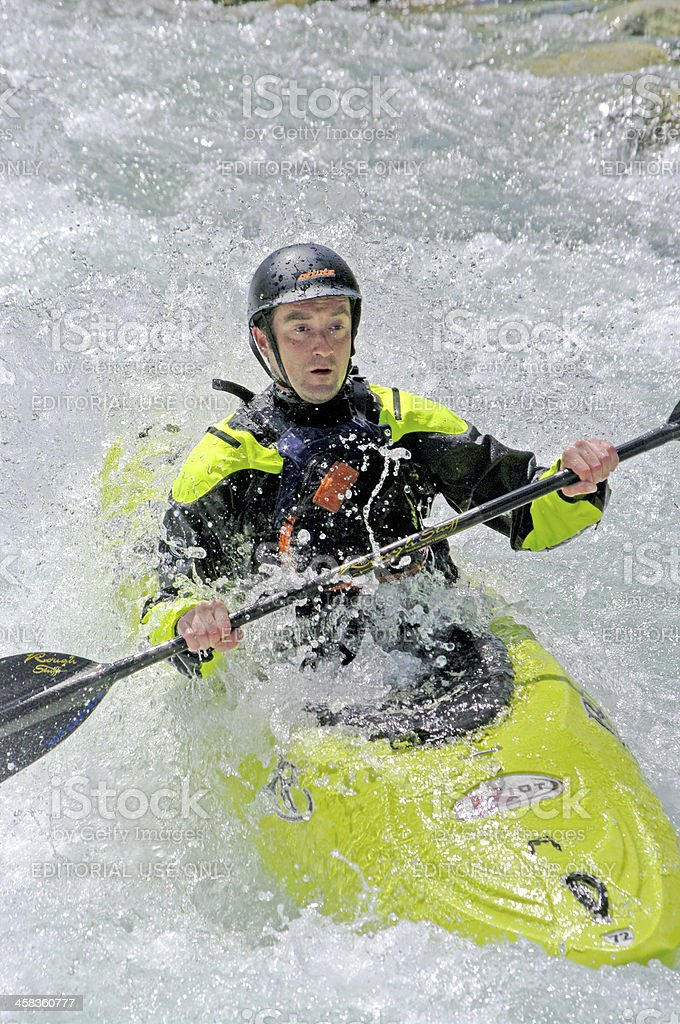 Kayaker down the river royalty-free stock photo