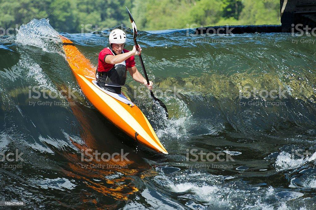 Kayaker entering to whitewater royalty-free stock photo