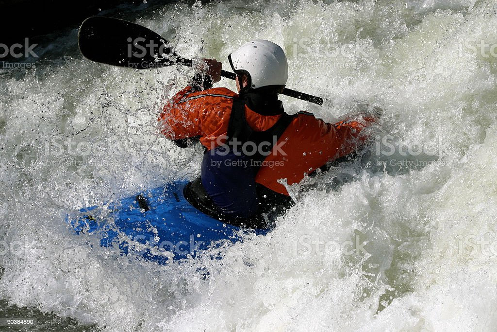 kayaker in white water royalty-free stock photo