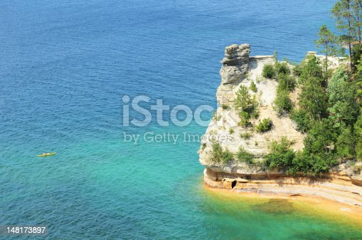136169151istockphoto Kayaker Near Miners Castle at Pictured Rocks National Lakeshore 148173897