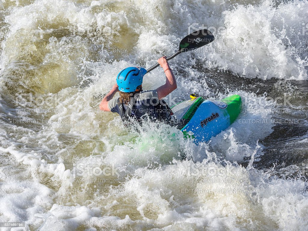 Kayaker on Deschutes River Bend Whitewater Park Bend Oregon stock photo