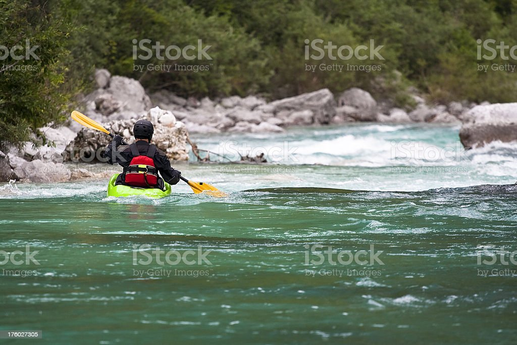 Kayaker on Soca river royalty-free stock photo