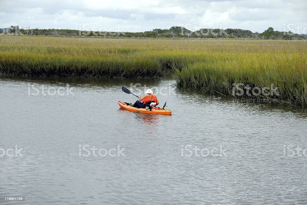 Kayaker on the St Johns river stock photo