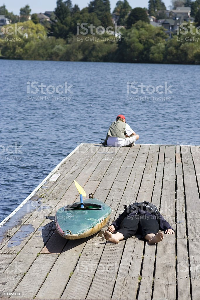 Kayaker recovers royalty-free stock photo