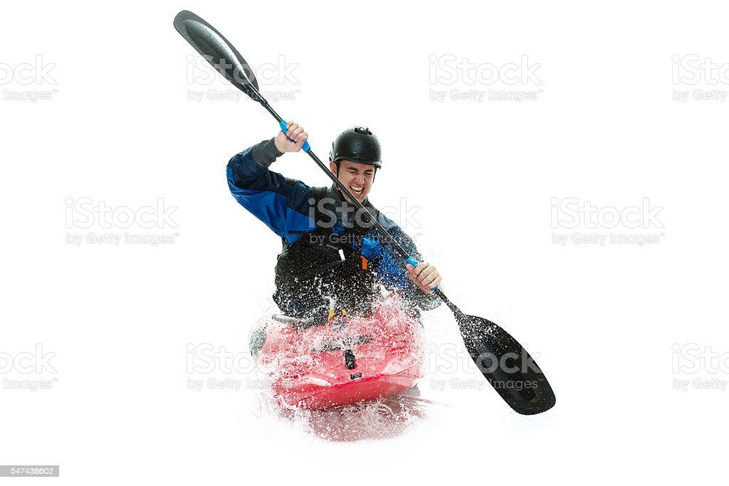 Kayaker riding kayak stock photo