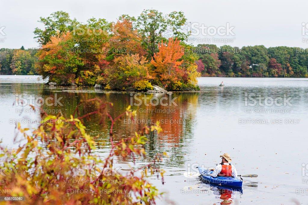 Kayaker Turner Reservoir royalty-free stock photo