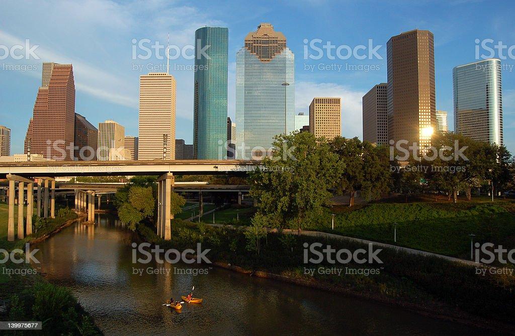 Kayakers near downtown Houston royalty-free stock photo