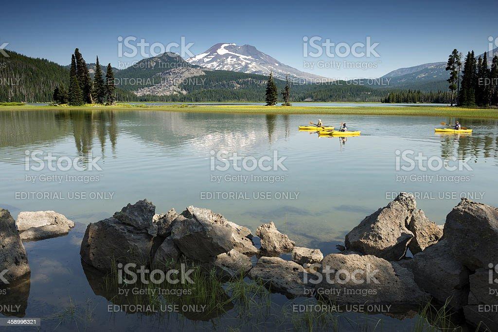 Kayakers on Sparks Lake-Bend,Oregon,USA stock photo
