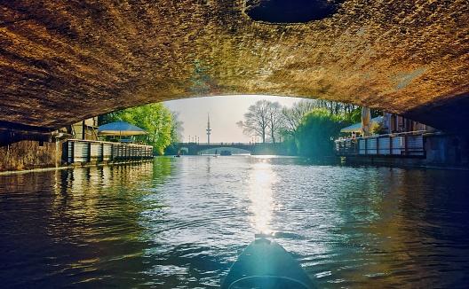 Kayaking around Alsterlake Hamburg