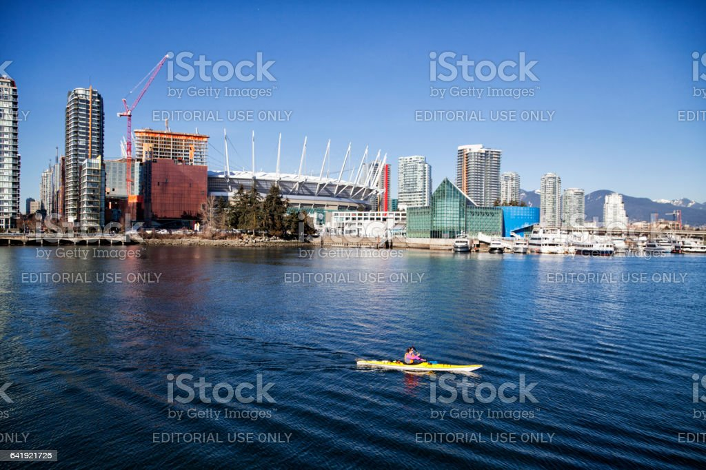 Kayaking at False Creek in winter,Vancouver,Canada stock photo