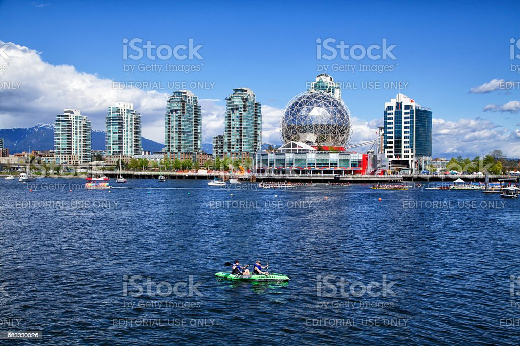 Kayaking at false creek, Vancouver, Canada stock photo