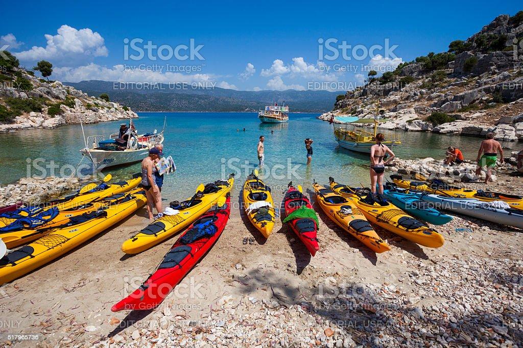 Kayaking at Kekova, Turkey stok fotoğrafı