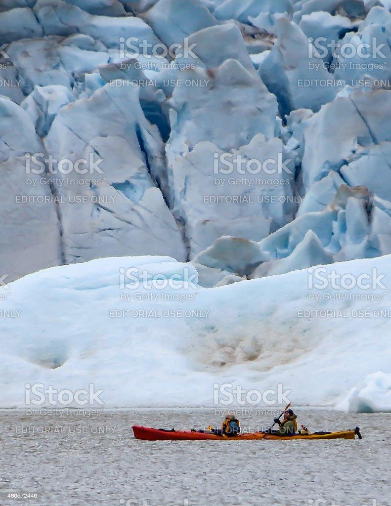 Kayaking at Mendenhall Glacier stock photo
