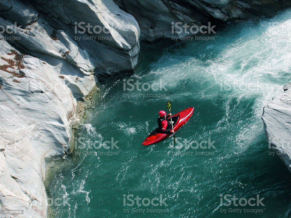 kayaking by the river stock photo