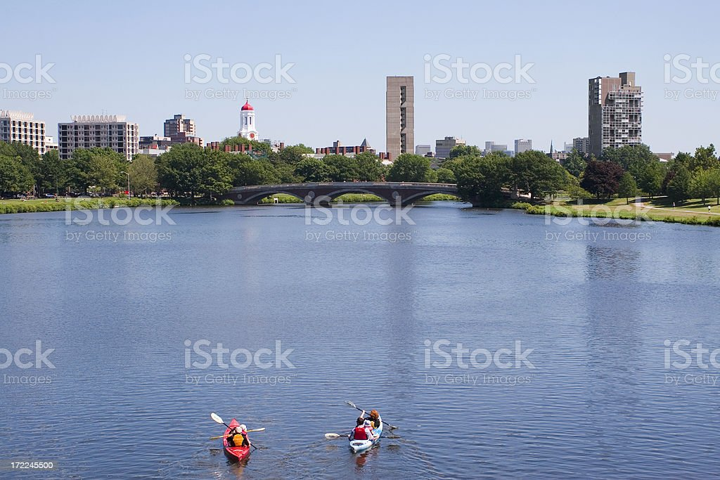 Kayaking down the Charles River stock photo