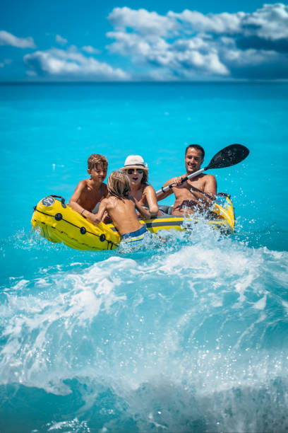 Kayaking Family stock photo