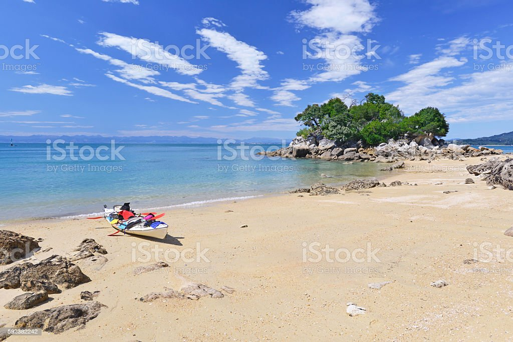 Kayaking in Abel Tasman National Park stock photo