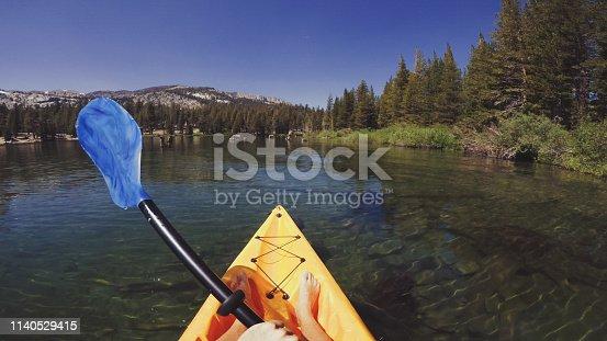 POV kayaking in lake recreational area