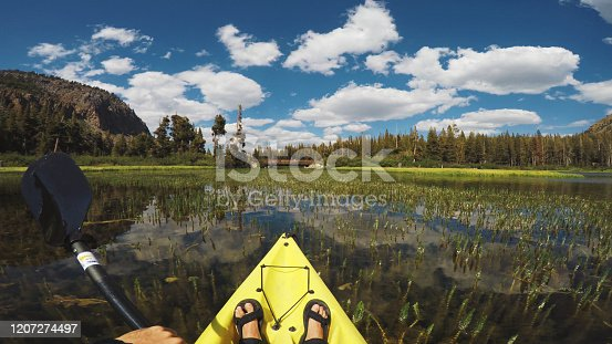 POV kayaking in lake recreational area