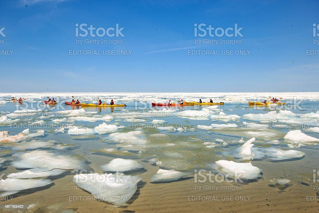 Kayaking in Lake Superior stock photo
