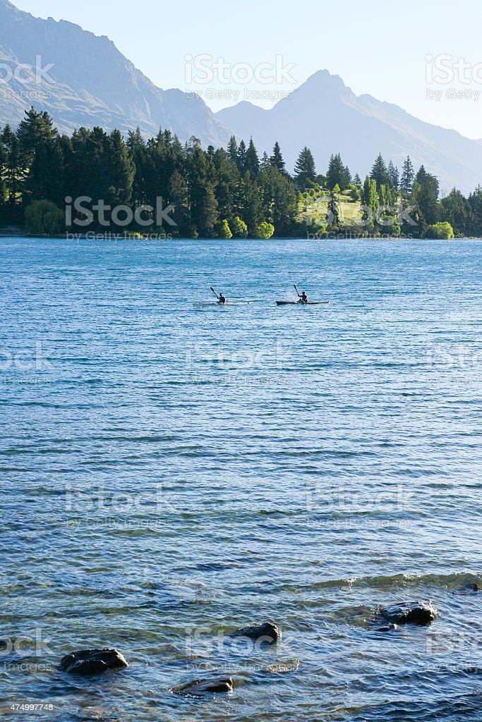 Kayaking in Lake Wakatipu in Early Morning stock photo