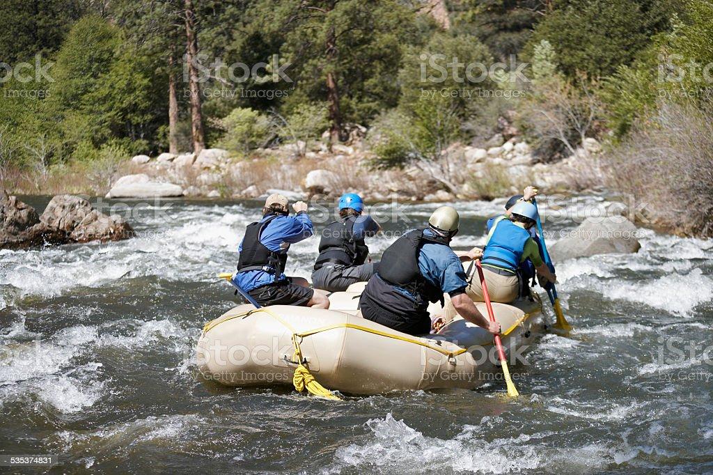 Kayaking in Mountain River stock photo