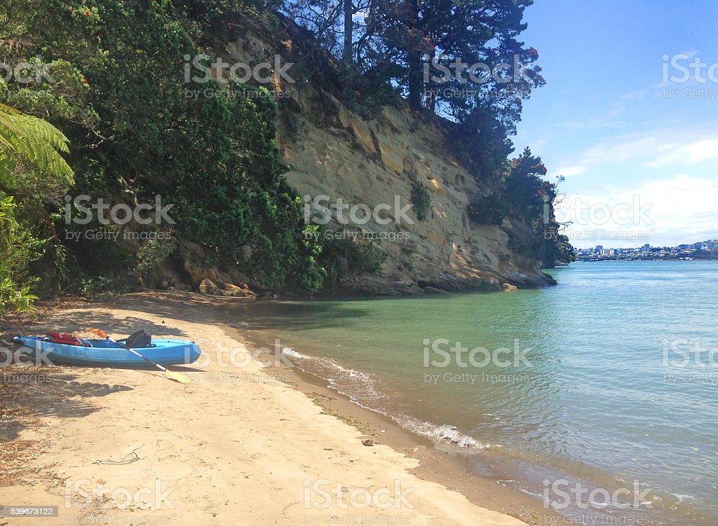 Kayaking in New Zealand stock photo