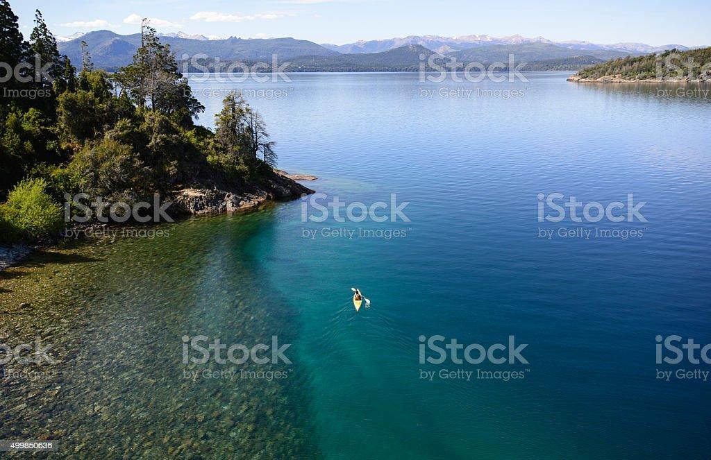 Kayaking in Patagonia Lakes stock photo