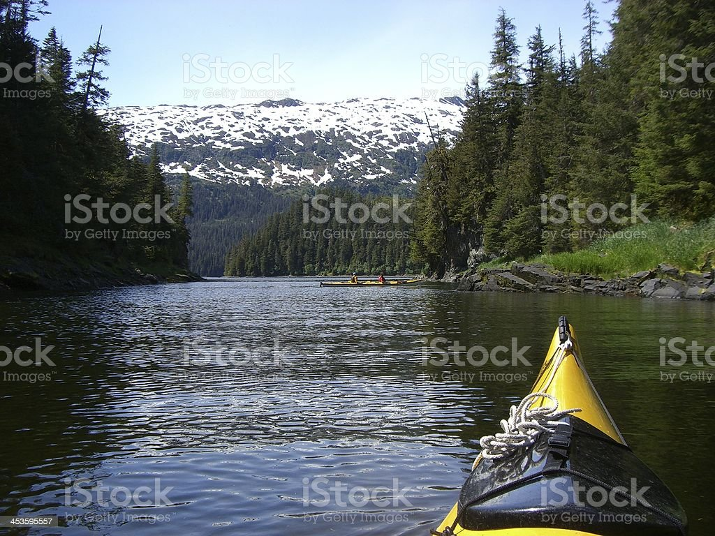 Kayaking in Prince William Sound, Alaska stock photo