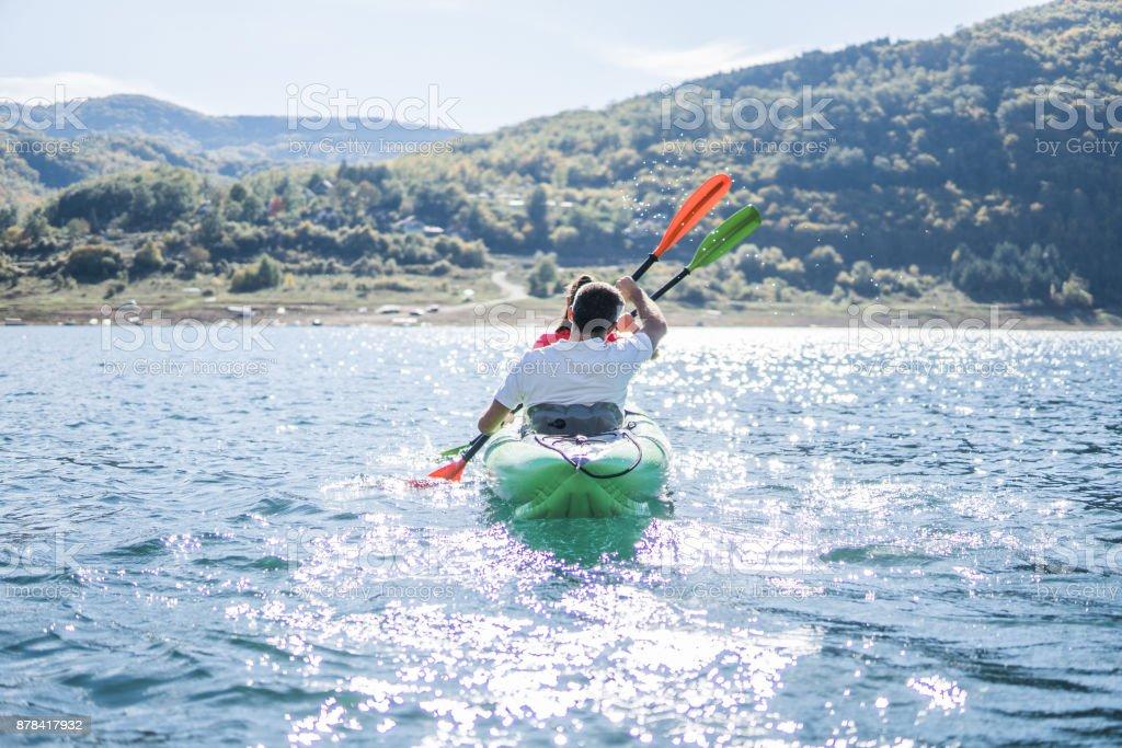 Kayaking in teams stock photo