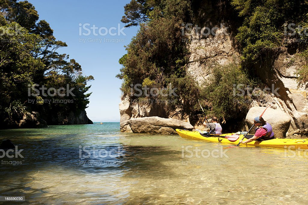Kayaking in the Abel Tasman stock photo