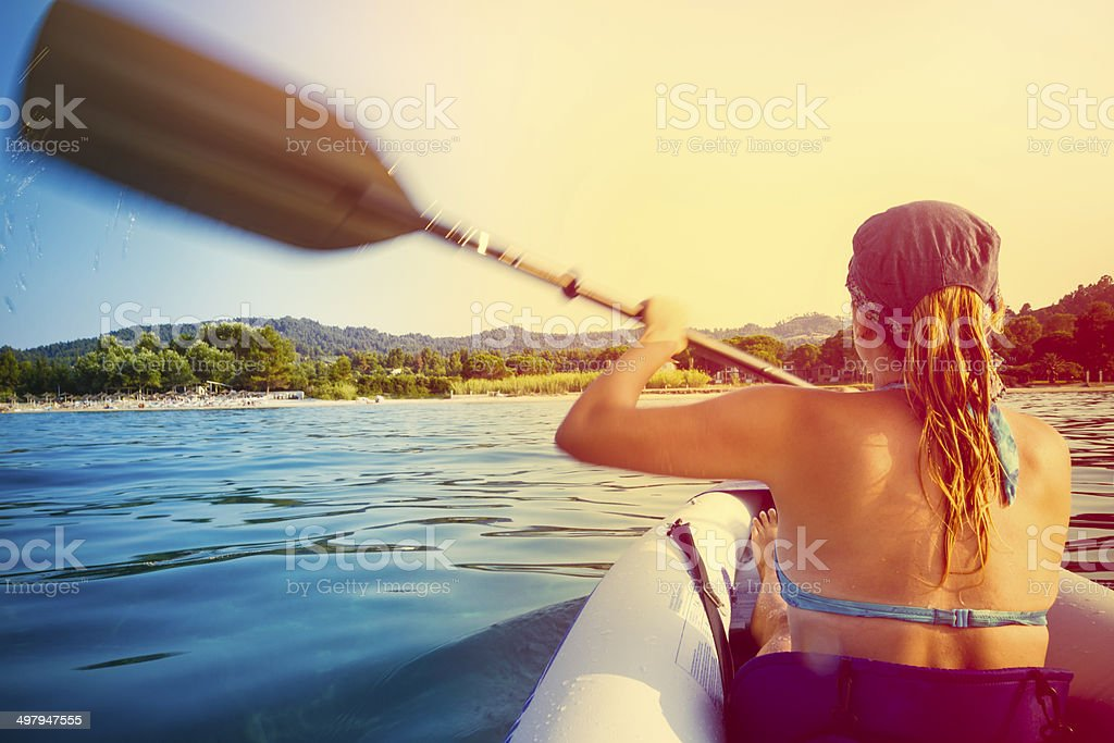 Kayaking in the afternoon stock photo