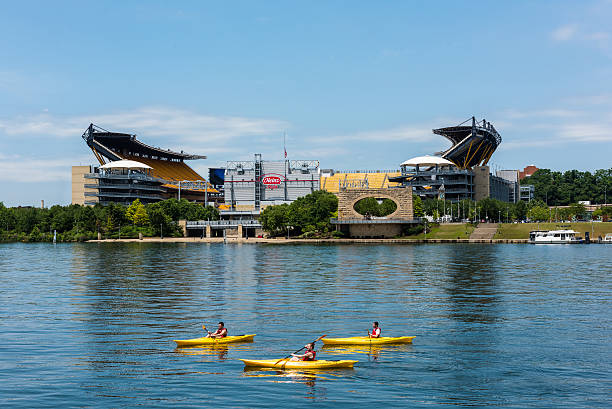kayaking in the allegheny river in front of heinz field - heinz stock photos and pictures