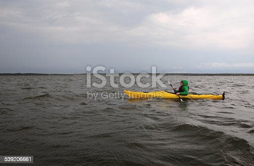 Kayaking with beluga whales in a cloudy day, in the Hudson Bay, near Churchill Manitoba