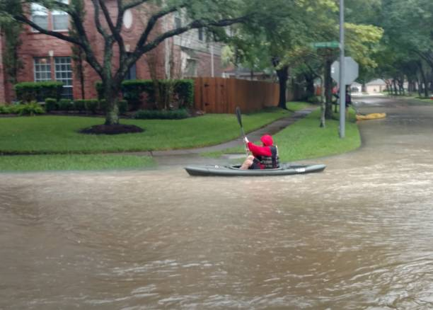 Kayaking in the Hurricane Harvey Floodwaters stock photo