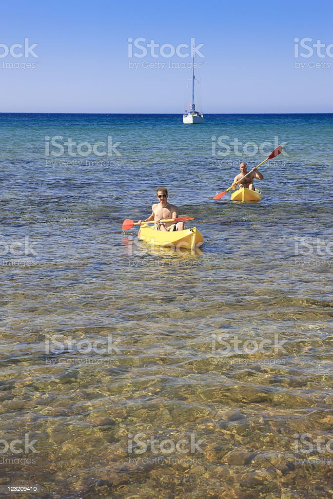 Kayaking in the Mediterranean Sea stock photo